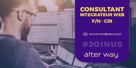 #alterwayrecrute un consultant intégrateur #Web ( F/H) en #CDI à Paris . Rejoign...