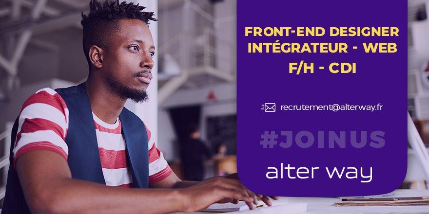 #alterwayrecrute un front-end designer intégrateur #Web ( F/H) en #CDI à Saint-C...
