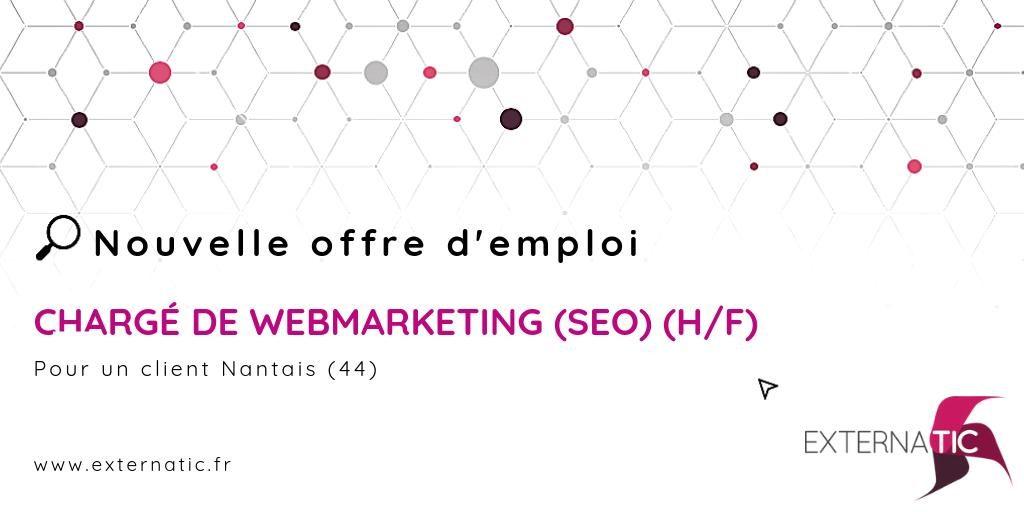 #job : CHARGÉ DE WEBMARKETING (SEO) (H/F) #webmarketing #emploi #poste #travail ...