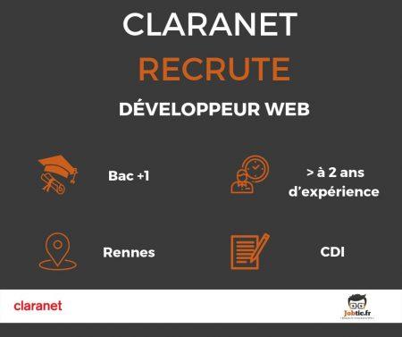 L'entreprise Claranet France recherche un Développeur Web (H/F) pour un CDI à Re...