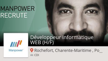 #ManpowerFrance recrute un(e) Développeur #informatique #WEB (H/F) Rochefort, Ch...
