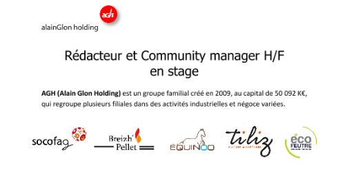 [#STAGE #CM] AGH recrute un Rédacteur Community manager H/F en stage à #Rennes (...