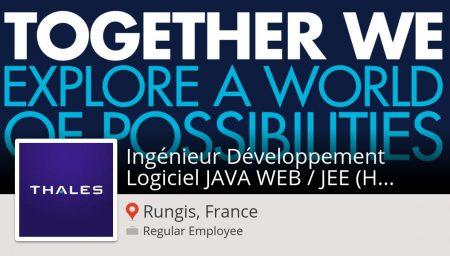 #Thales recrute un(e) #Ingénieur Développement Logiciel JAVA #WEB / JEE (H/F) - ...