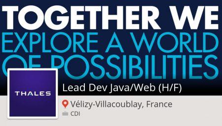 #Thales recrute un(e) Lead Dev #Java/#Web (H/F), postulez dès maintenant ! (#Vél...