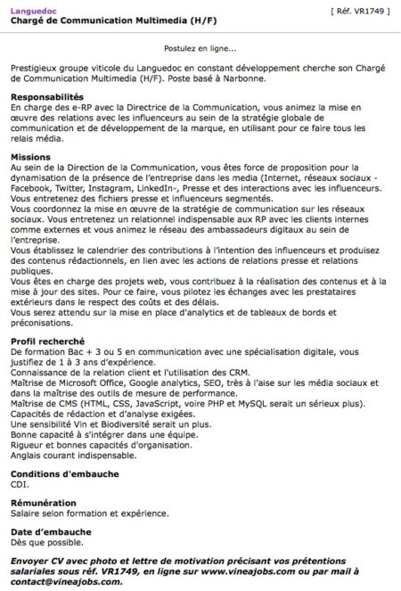#winejobs - Chargé de com' MULTIMEDIA, SEO, G analytics, HTML, CSS, JavaScript. ...